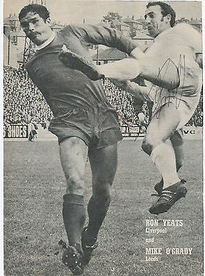 Ron Yeats Liverpool & Mike O'grady Leeds Original Hand Signed Magazine Cutting