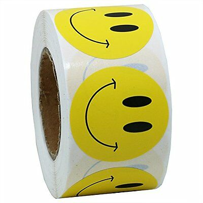 """HybskTM Yellow Smiley Face Happy Stickers 1.5"""" Round Circle Teacher Labels 500"""