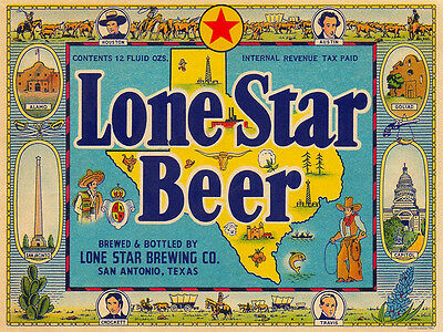"""24"""" X 18"""" Reproduced IRTP  Lone Star Beer Lone Star Brewing Co label on Canvas"""