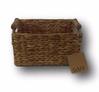 GAIA Water Hyacinth Storage Basket with Round Wooden Handles Choose Your Size