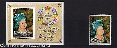 Niue - 1990 Queen Mothers 90th - U/M - SG 698 + MS699