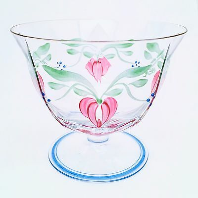 Vintage Orrefors 'Maja' Footed Bowl, Hand Painted, Signed by Artist Eva Englund