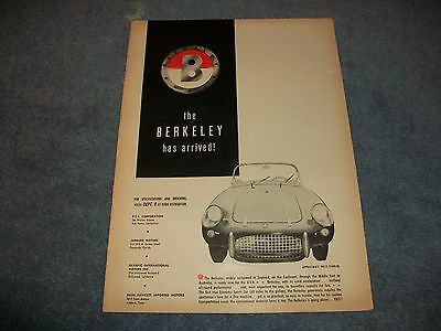 "1958 Berkeley Vintage Sports Car Ad ""The Berkeley Has Arrived!"""