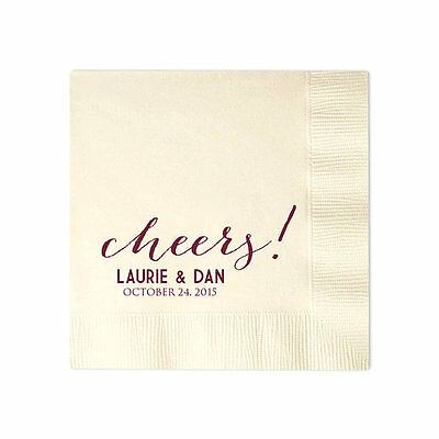 100 Personalized Napkins Cheers Wedding 3 Ply Napkins Cocktail Beverage