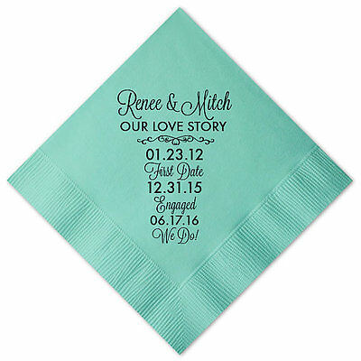 100 Personalized Napkins OUR LOVE STORY 3 Ply Napkins Cocktail Beverage