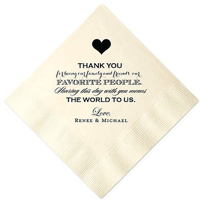 100 Personalized Napkins Wedding Thank You 3 Ply Napkins Cocktail Beverage