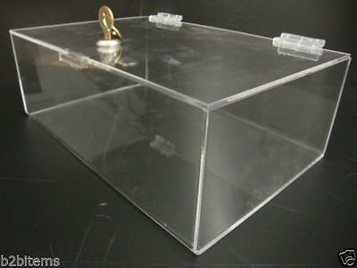 "Acrylic Lucite Clear Countertop Display Show Case 12"" x 8"" x 4"" Locking Safe Box"