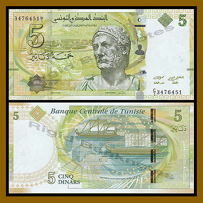 Tunisia 5 Dinars, 2013 P-95 Bust of Hannibal Carthage Sailing Ship Unc