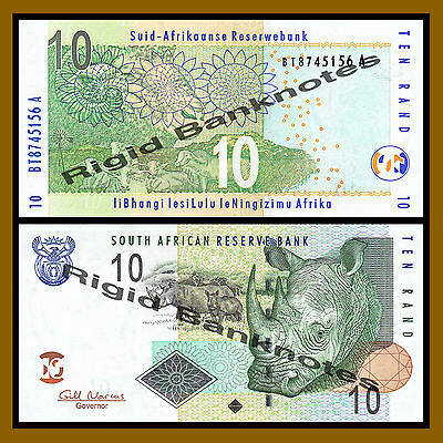 South Africa 10 Rand, 2009 P-128b Rhino Unc