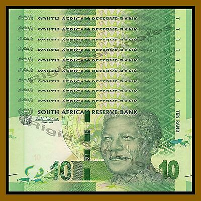 South Africa 10 Rand x 100 Pcs Bundle, ND 2012 P-133 Rhino Nelson Mandela Unc