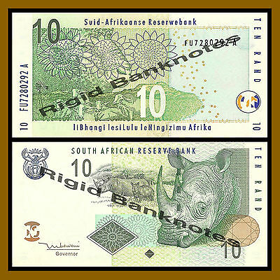 South Africa 10 Rand, ND 2005, P-128a Rhino Unc