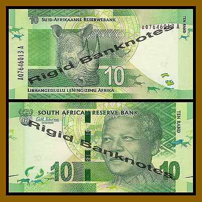 South Africa 10 Rand, ND 2012 P-133 Rhino Nelson Mandela Unc