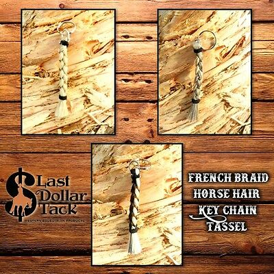 Exquisite Handcrafted French Braid Horse Hair Beaded Key Chain Tassel