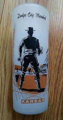 Vintage Dodge City Marshal Drinking Glass -Marshal in a show down, cowboy