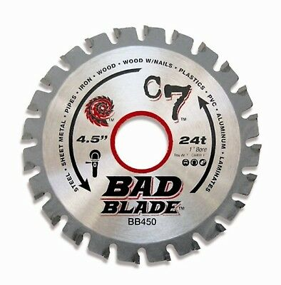 KwikTool USA BB450 C7 Bad Blade 4-1/2-Inch 24 Tooth with 1-Inch Arbor And... New