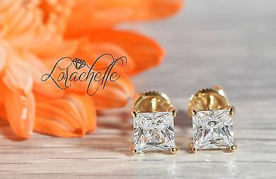 2.0 ct Princess Cut Solitaire Stud Earrings Solid 14k Yellow Gold Screw Back