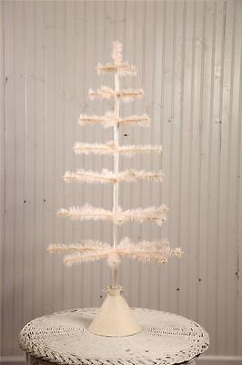 """Bethany Lowe 39"""" Tea Stain Feather Christmas Tabletop Tree with Tin Base"""