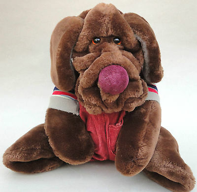 Ganz Wrinkles Hound Dog Plush Puppet Dk Brown Cord Overalls 17in Neck Tags 1980s