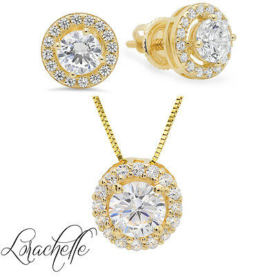 """Round Solitaire Halo Earring&Necklace Set Solid 14K Yellow Gold+16""""  Gold Chain"""