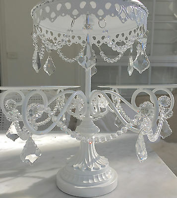 Hamptons Shabby Crystal Prisms White Chic Cupcake Candelabra Display Cake Stand