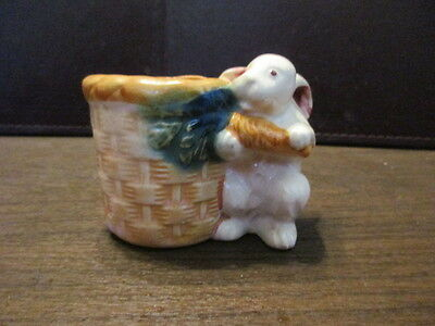 Vintage Easter Bunny With Basket - Holding Carrot Figurine - Occupied JAPAN PICO