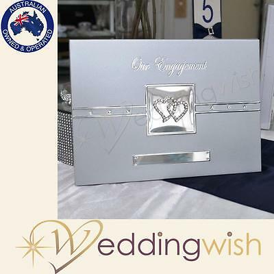 Our Engagement Guest Book With Silver Diamante Hearts & Stylish Silver Pen,