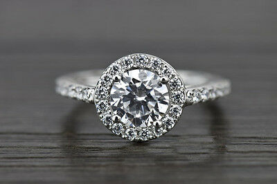 2.5ct Brilliant Round Halo Solitaire Wedding Engagement Ring Solid 14k WhiteGold