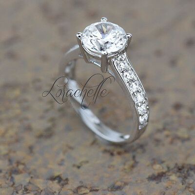 2.5 ct Brilliant Round Solitaire Accent Engagement Ring in Solid 14k White Gold