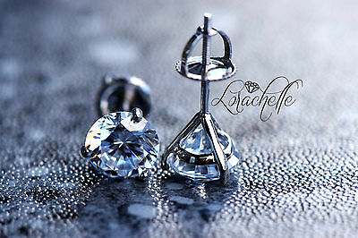3.0 ct Brilliant Martini Earring Studs Screw BacksReal Solid 14K White Gold