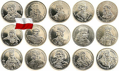 PLN | POLAND 1979-1994 SET 15 COINS  POLISH KINGS AND PRINCES 50 100 500 zl
