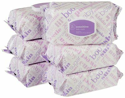 Amazon Elements Sensitive Baby Diaper Hand Face Wipes, Soft, Flip-Top (6 Pack)