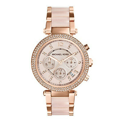 Michael Kors Rose Gold Parker Blush 39mm Womens Round Watch Swarovski Crystals