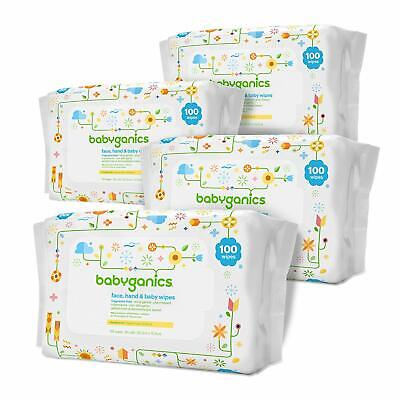 Babyganics Face Hand Baby Wipes Soft Thick Fragrance Free Non-Allergenic 4 Pack