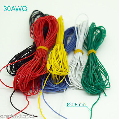 10 Meter 30AWG Flexible Soft Silicone Wire Tin Copper RC Electronic Cable 6color