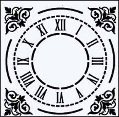 CLOCK FACE WITH ROMAN NUMERALS & DECORATIVE CORNERS RE USEABLE STENCIL - 6 x 6