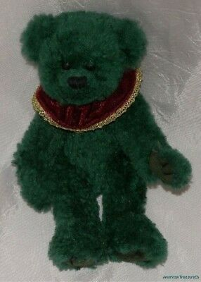 "1993 TY ATTIC Plush Shabby Green Jointed 9"" LAUREL The HOLIDAY BEAR w/Collar"