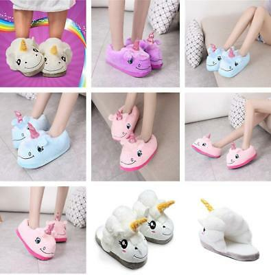 Pop Adult Plush Winter Warm Soft Cute Men Women Unicorn Slippers  Indoor Shoes G