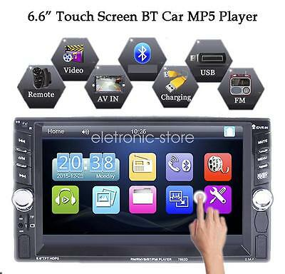 6.6'' Bluetooth Touch 2 DIN Autoradio Stereo MP5 Player AUX/Remoto/USB HeadUnit