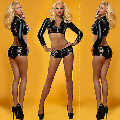 Sexy Outfit Body Wetlook Gr. M L 38 40 Clubwear Gogo Domina Catsuit Top Dessous