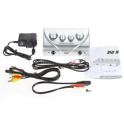 Karaoke Sound Mixer Dual Mic Inputs With Cable 100-240V US Gold X6H5