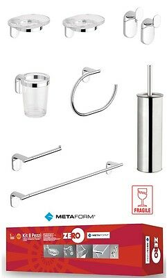 KIT ACCESSORI BAGNO SET cromato e abs METAFORM ZERO 8 pezzi portarotolo scopino