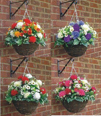 "M/d (12""basket X 16""spread ) Ready To Hang Artificial Hanging Basket & Flowers"