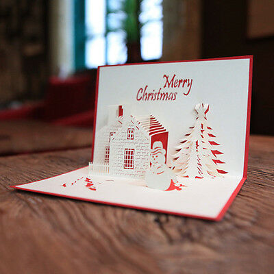 3D Stereoscopic Fashion Holidays Castle Tree Merry Christmas Cards Greeting Card