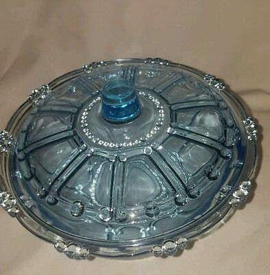 Vintage Ice Light Blue Beaded Covered Candy Dish/Serving Bowl w/Lid