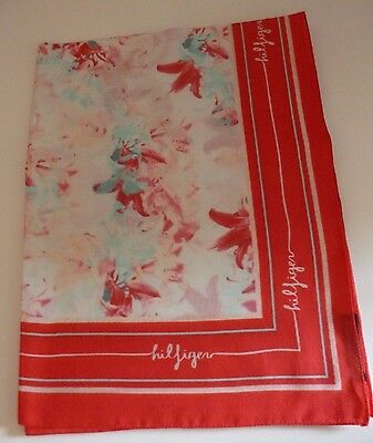Tommy Hilfiger ladies scarf pink turquoise flowers white NEW pretty womens