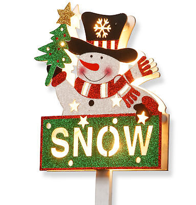 National Tree Co. Pre-Lit Snowman with Snow Sign