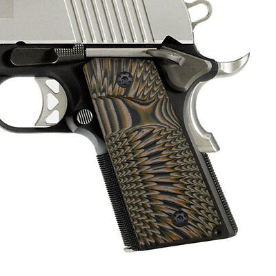 COOLHAND 1911 SLIM G10 Grips Compact Officer Size Sunburst Texture Coyote  Brown