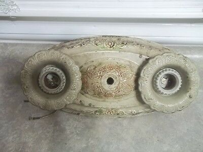 "Antique Metal Victorian Light Fixture Estate Find 12"" 2 Socket"