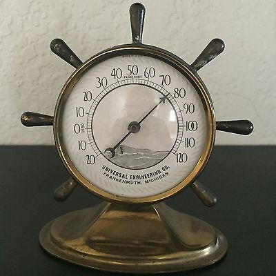 Vintage BRASS SHIP WHEEL THERMOMETER Advertising UNIVERSAL ENGINEERING Mich. USA