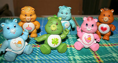 CARE BEARS Great LOT of 6 Vintage 1980'S POSABLE Care Bear PVC Figures